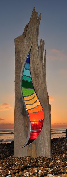 Louise V Durham Stained Glass Sculptures Shoreham by Sea . Stained Glass Ornaments, Stained Glass Projects, Stained Glass Patterns, Stained Glass Art, Mosaic Art, Mosaic Glass, Fused Glass, Driftwood Art, Wood Glass