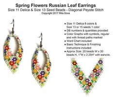 Spring Flowers Russian Leaf Earrings | Bead-Patterns.com