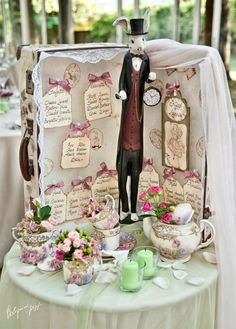 "Vintage tableau de mariage ""Alice in Wonderland"" theme"