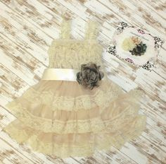 Cream/Ivory Camouflage Girls Dress With by SnickerdoodleClothes