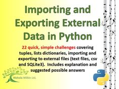 4 useful documents to help teach pupils (and teachers) about Tuples, Lists, Dictionaries, writing to and reading from a text file, writing to and reading from a .csv file and creating and using an SQLite3 database.<br />  <br />  SUITABLE FOR A STUDENT'S ...