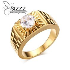 New Fashion High Polished Stainless Steel Jewelry Party Ring Men Jewelry Shiny White Rhinestone