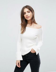 ASOS Sweater In Rib With Off Shoulder And Fluted Sleeves - Cream