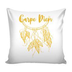 "CARPE DIEM w/ Dreamcatcher Bohemian Style - White Pillow Cover 16"""