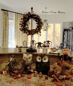 Rustic Fall Centerpiece Decor with Owls