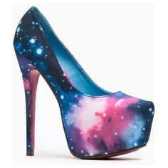 Liliana Solange Almond Toe Galaxy Print Heel ❤ liked on Polyvore featuring shoes, pumps, high heel stiletto pumps, prom pumps, planet shoes, prom shoes and high heel stilettos