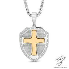 Men's Shaquille O'Neal Lord's Prayer Shield Pendant in Two-Tone Stainless Steel - 24