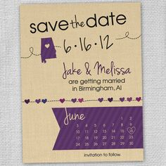 Save the Date - Alabama Heart - Any State (Set of 12)