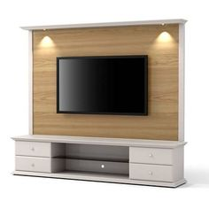 Add a wow appearance to your living space by selecting this Manhattan Comfort Carder Nature Wood and Off White TV Stand and Panel with Led Lights. Tv Stand And Panel, Tv Panel, White Tv Stands, Cool Tv Stands, Tv Wall Design, Tv Unit Design, Tv Wanddekor, Home Engineering, Floating Entertainment Center
