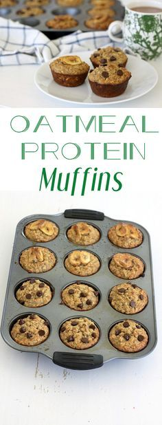 We are obsessed with these one-bowl oatmeal protein muffins! This recipe is low in sugar, flexible with substitutions and includes nut butter, chia seeds and flaxseeds (all protein sources). And they (Muffin Recetas Avena) Healthy Oatmeal Recipes, Healthy Protein Snacks, Healthy Muffins, Protein Foods, Healthy Treats, Healthy Food Substitutes, Recipes With Flaxseed, Recipes With Chia Seeds, Low Fat Muffins