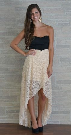 I love this high low skirt with lace.  Just might have to figure it out and make me one.
