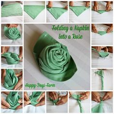 For the forthcoming festival season, learn how to fold napkins in unique shapes like hats, shirt, flowers etc. Explore creative napkin folding ideas here. Napkin Folding Rose, Napkin Rose, Folding Paper Napkins, Wedding Napkin Folding, Linen Napkins, Cloth Napkins, Serviettes Roses, Christmas Tree Napkin Fold, Happy Day Farm