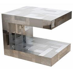 Signed Paul Evans Cityscape Massive Side or End Sculptural Table | From a unique collection of antique and modern side tables at https://www.1stdibs.com/furniture/tables/side-tables/
