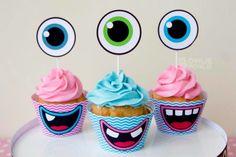 Girl MONSTER BASH BABY SHOWER cupcake toppers with monster eye