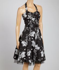 Another great find on #zulily! HEARTS & ROSES LONDON Black & White Floral Halter Dress by HEARTS & ROSES LONDON #zulilyfinds