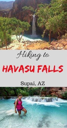Hiking to Havasu Falls, Arizona. Great tips for a desert hike into the Grand Canyon. #traveltips