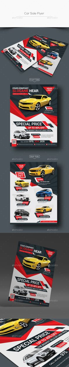 Square Trifold Interior Brochure Company, Squares and Interiors - car for sale flyer template