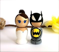 Batman Wedding Cake Topper Custom by CreativeButterflyXOX on Etsy, $88.00 - would you rather this @Benton Gordon or the puzzle piece one that we decided on?