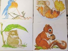 Vintage Current Note Cards Linda K Powell Fuddled N  Furry Blank Cards New Old Stock Paper Ephemera by EvenTheKitchenSinkOH on Etsy