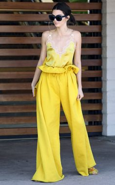 Mellow yellow! The model is spotted in an all yellow Kendall + Kylie ensemble in Agoura Hills, California.
