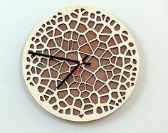 Wooden Wall Clock / Home Decor / Housewares / Clock Wooden Clock Kits, Wall Clock Kits, Diy Clock, Wood Clocks, Wooden Wall Panels, Wooden Walls, Gear Clock, Wall Watch, Steampunk Clock