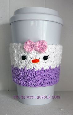 Ravelry: Daisy Duck Coffee Cup Cozy pattern by The Enchanted Ladybug Crochet Coffee Cozy, Coffee Cup Cozy, Crochet Cozy, Crochet Ideas, Crochet Patterns, Cup Cozies, Cozy Cover, Crochet Disney, Crochet Home Decor
