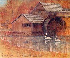 P Buckley Moss ~ Autumn at Mabry Mill - Artist's Proof Art Loft, Moss Art, Nostalgia, Scenery, Fall Landscape, Water Mill, Autumn, Watercolor, Gallery