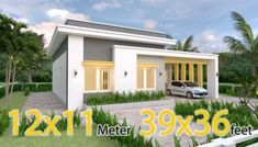 White House Floor Plan 6x8 Meter 20x27 Feet - Pro Home DecorZ Model House Plan, My House Plans, Small House Plans, House Floor Plans, House Roof, Shed Roof, One Storey House, Modern Bungalow House, Building A Tiny House