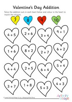 This Valentine's Day addition worksheet gives children practice on simple single digit addition sums. Subtraction Worksheets, Addition Worksheets, Kindergarten Math Worksheets, Preschool Learning, Teaching Math, Math Activities, Homeschool Math, First Grade Math, Math For Kids