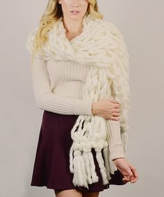 Love this Ivory Open Fringe-Trim Scarf on #zulily! #zulilyfinds this is it Jenn!!!!