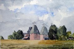 Original Painting in Watercolour Oast Houses by JulianLovegroveArt, £40.00