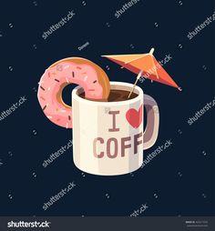 Coffee mug with umbrella. Concept vector illustration.