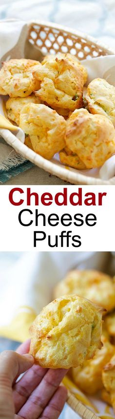 Cheddar Cheese Puffs - French puff pastry loaded with cheddar cheese and chopped scallions, so buttery, cheesy, yummy and easy to make! Tapas, Queso Cheddar, Cheddar Cheese, Butter Cheese, New Recipes, Cooking Recipes, Favorite Recipes, Easy Delicious Recipes, Yummy Food