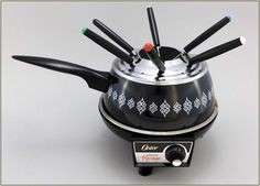 1970's Vintage Oster Electric Fondue Pot, Black & White with 6 Skewers, Nice! #Oster