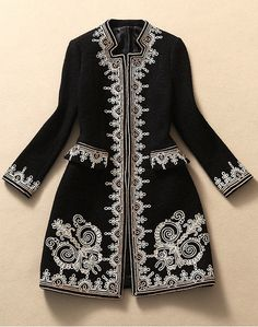 Embroidered Wool Coat Jacket in Black $168.00