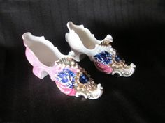 Two Beautiful Victorian Porcelain Shoes by MountainShine on Etsy, $10.00