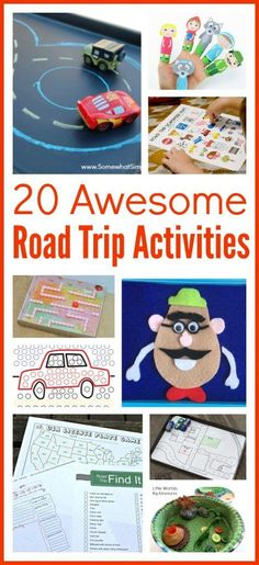 Road trips games for kids. 20 fun car games and activities that will keep kids busy and entertained on long road trips. Great for toddlers and preschoolers.