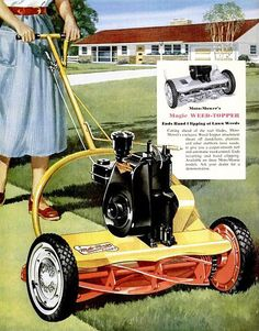moto-mower 1954 Vintage Tractors, Old Tractors, Lawn Tractors, Reel Lawn Mower, Lawn Mower Tractor, Old Advertisements, Retro Advertising, Lawn Equipment, Old Ads