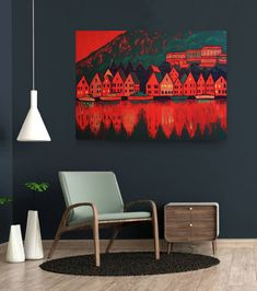 Norway large original acrylic painting on canvas, Bergen fjord wall art, green and red cityscape art Office Interior Design, Interior Livingroom, Flower Artwork, Colorful Wall Art, Boho Living Room, Cozy House, Oil Painting On Canvas, Gallery Wall, Artworks