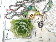peony necklace assemblage upcycle religious by lilyofthevally