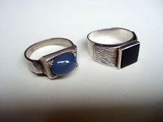 2 x Ring Silber 835 mit Stein Konvolut alt antik art
