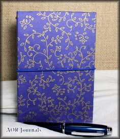 """Traveler's Notebook Cover Royal Blue & Gold Rice Paper Hardbound Field Note Size 2 Elastics 1"""" Spine Bookdori 2 inserts included by AORJournals from AOR Journals by Ann. Find it now at http://ift.tt/2aejVaj!"""