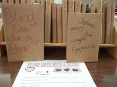 """Illinois Valley Central High School's """"Blind Date with a Book"""" display. We love that they """"created a """"dumped"""" box with sayings such as """"It's not you, it's me,"""" """"It's just not working out,"""" and """"We can't even be friends anymore"""" written on it, so as we met """"post-date"""" to discuss our dates students could throw the """"dumped"""" books into the box."""" Click through for more details! English Classroom, Classroom Fun, Classroom Organization, Teen Programs, Library Programs, Library Boards, Library Ideas, Library Displays, Book Displays"""