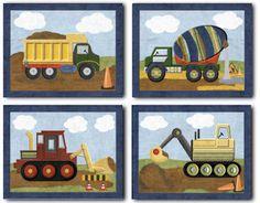 Christopher Construction Nursery Bedding art set of four paper prints for baby boy kids room