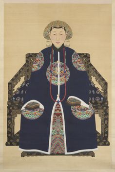 Portrait of a Woman with a Phoenix Headdress Ink and colors on silk China Qing dynasty Freer Gallery of Art and Arthur M. Chinese Artwork, Chinese Painting, Traditional Art, Traditional Outfits, Chinese Scroll, Freer Gallery, Oriental Dress, Art Asiatique, Art Japonais