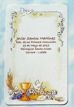 ESTAMPAS COMUNION 007501 -12x8 cms. aprox. Holy Communion Invitations, Frame Background, First Holy Communion, Holi, Decoupage, Frames, Cards, Scrap, Moldings