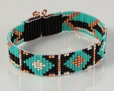 Native American Style Dakota Star Bead Loom Cuff by PuebloAndCo