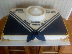 Navy retirement cake made with marshmallow fondant