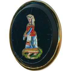 Button--Rare Mid-19th C. Figural Micromosaic Country Woman in 0.800 Silver