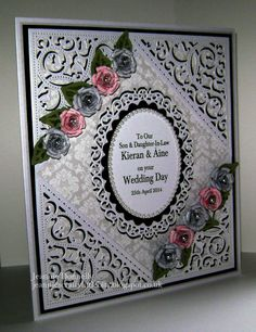 Wedding day Card using #Spellbinders #Gold Elements, #Floral Ovals and #Bitty Blossoms